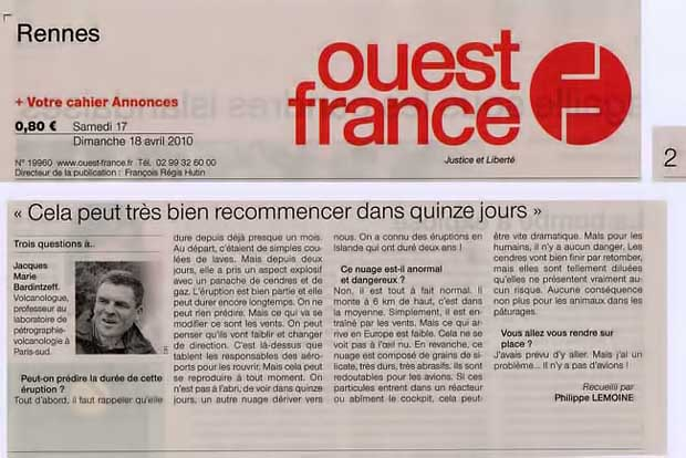 Ouest France, n° 19960, 17-18 avril 2010, p. 2.<br>