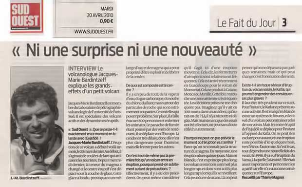 Sud-Ouest, 20 avril 2010, p. 3.<br>