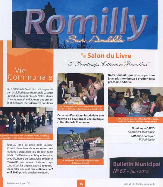 Bulletin Municipal, Romilly-sur-Andelle, n° 67, juin 2012, p. 15.<br>